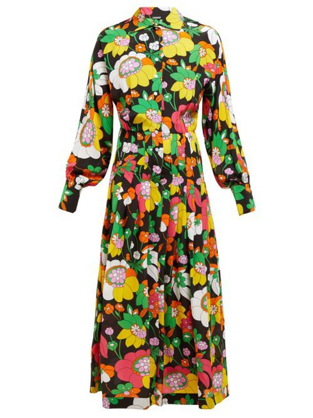 Dodo Bar Or - Anabelle Floral Print Silk Midi Shirtdress - Womens - Black Multi
