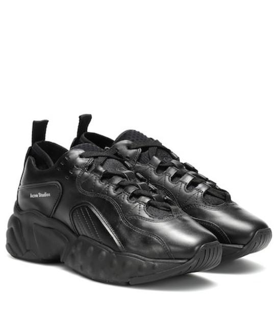 Acne Studios Manhattan leather sneakers in black