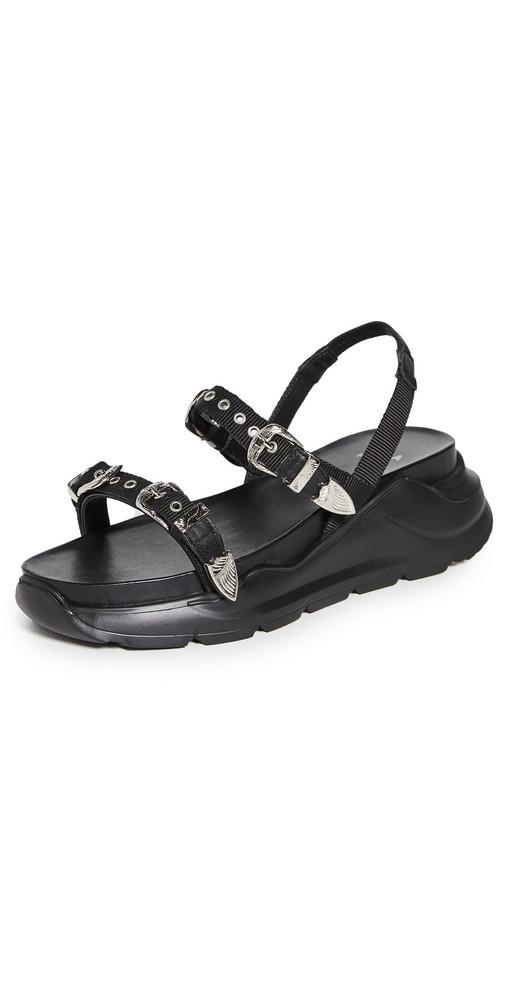 Toga Pulla Buckle Sandals in black