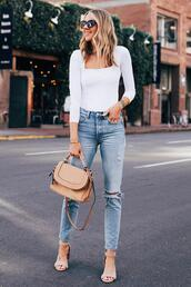 fashionjackson,blogger,top,jeans,shoes,sunglasses,bag,white top,long sleeves,skinny jeans,ripped jeans,high waisted jeans,sandals,brown bag