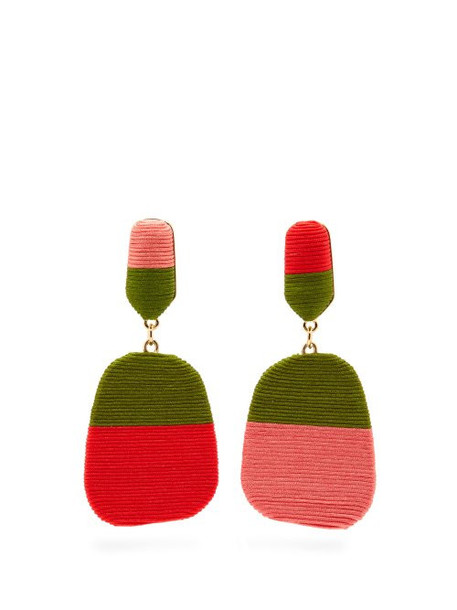 Maryjane Claverol - New Rio Mismatched Drop Clip Earrings - Womens - Red