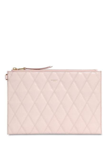 GIVENCHY Quilted Leather Pouch in pink