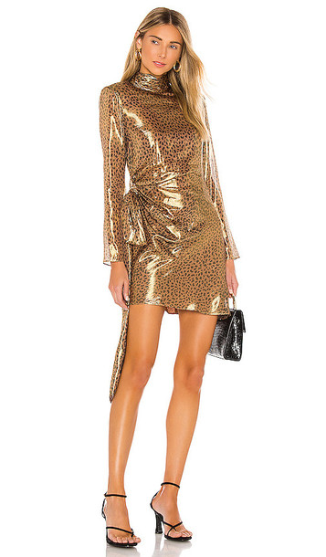 L'Academie The Josette Mini Dress in Metallic Gold