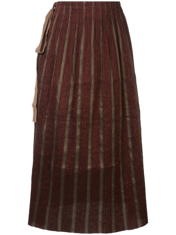 Uma Wang knot-detail pleated skirt in red