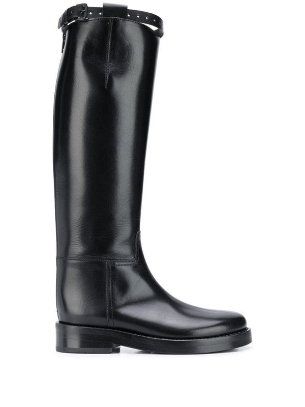 Ann Demeulemeester knee length riding boots in black