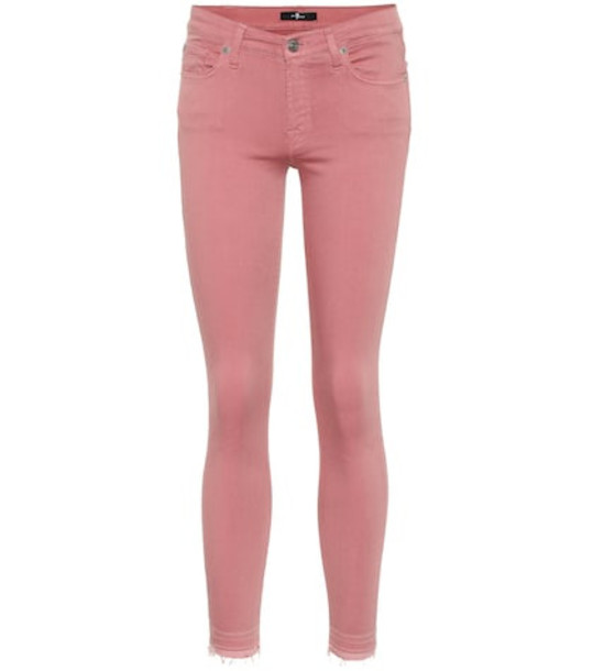7 For All Mankind The Skinny mid-rise jeans in pink
