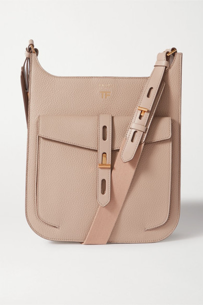 TOM FORD - T Twist Medium Textured-leather Shoulder Bag - Taupe