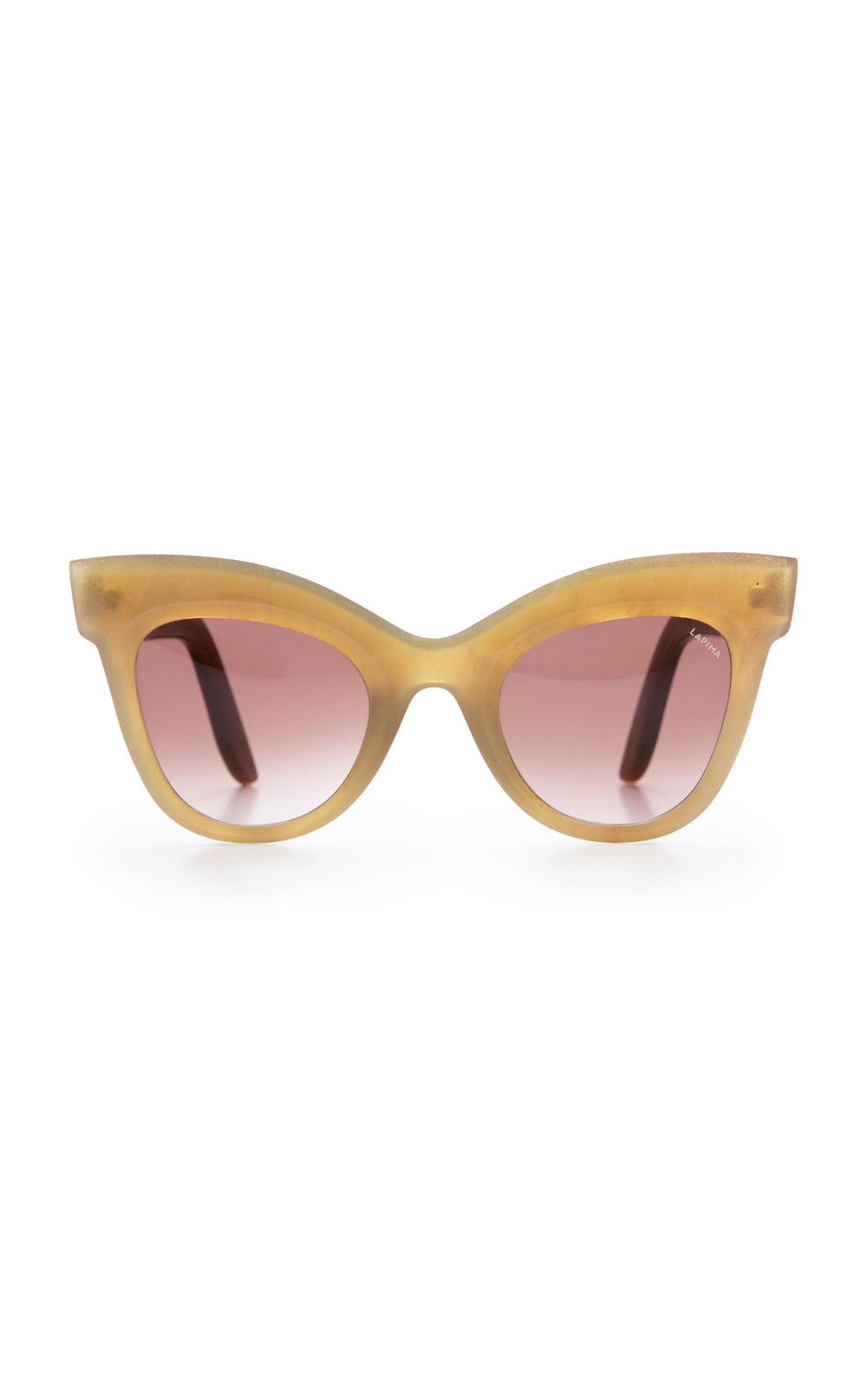 Lapima Exclusive Helena Cat-Eye Horn Sunglasses in brown