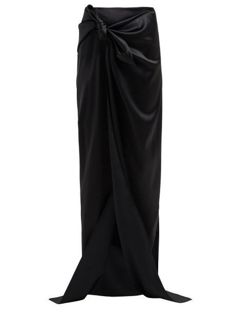 Balenciaga - Tie Detail Satin Skirt - Womens - Black