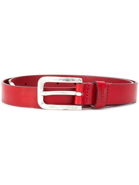 Diesel metallic tip leather belt in red