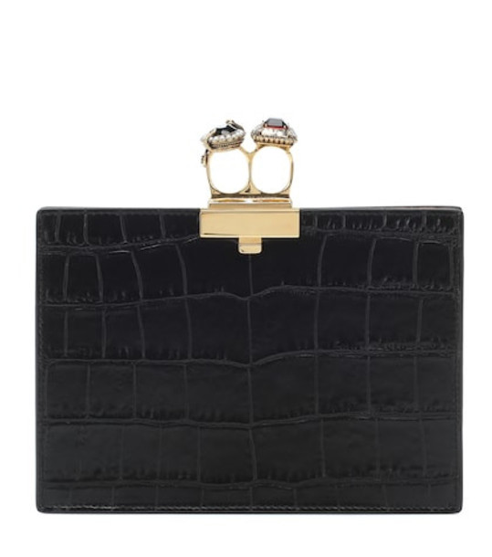Alexander McQueen Embellished leather clutch in black