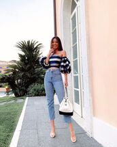 top,crop tops,off the shoulder top,striped top,cropped jeans,high waisted jeans,white bag,chanel bag,sandal heels