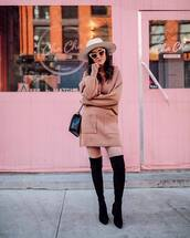 shoes,over the knee boots,black boots,knitted skirt,mini skirt,sweater,set,black bag,hat