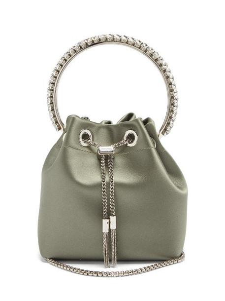 Jimmy Choo - Bonbon Satin Clutch Bag - Womens - Green