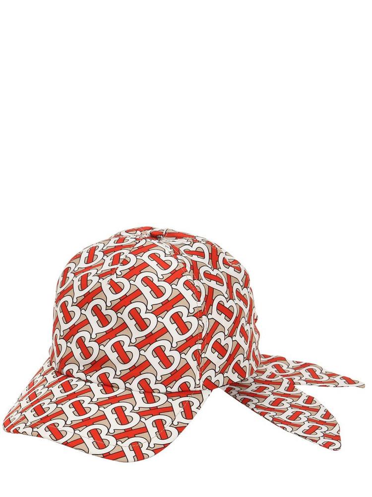 BURBERRY Tb Monogram Print Baseball Hat in red