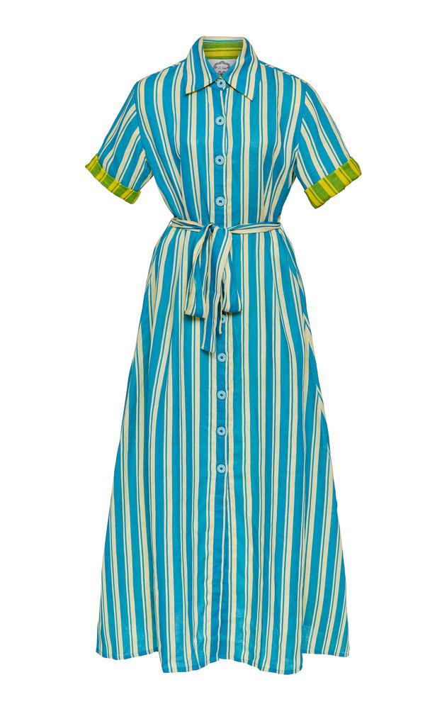Evi Grintela Sunflower Striped Linen Maxi dress Size: XS in blue