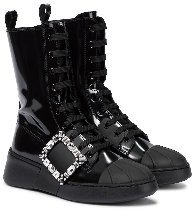 Roger Vivier Viv' Skate patent leather ankle boots in black