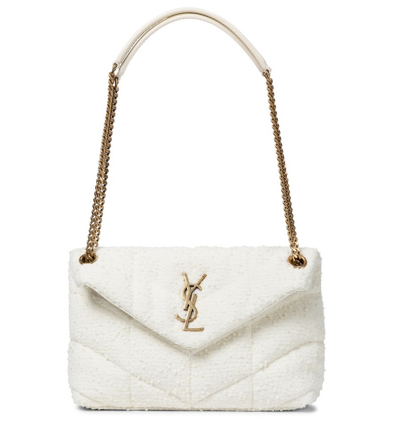 Saint Laurent Loulou Puffer Small bouclé shoulder bag in white
