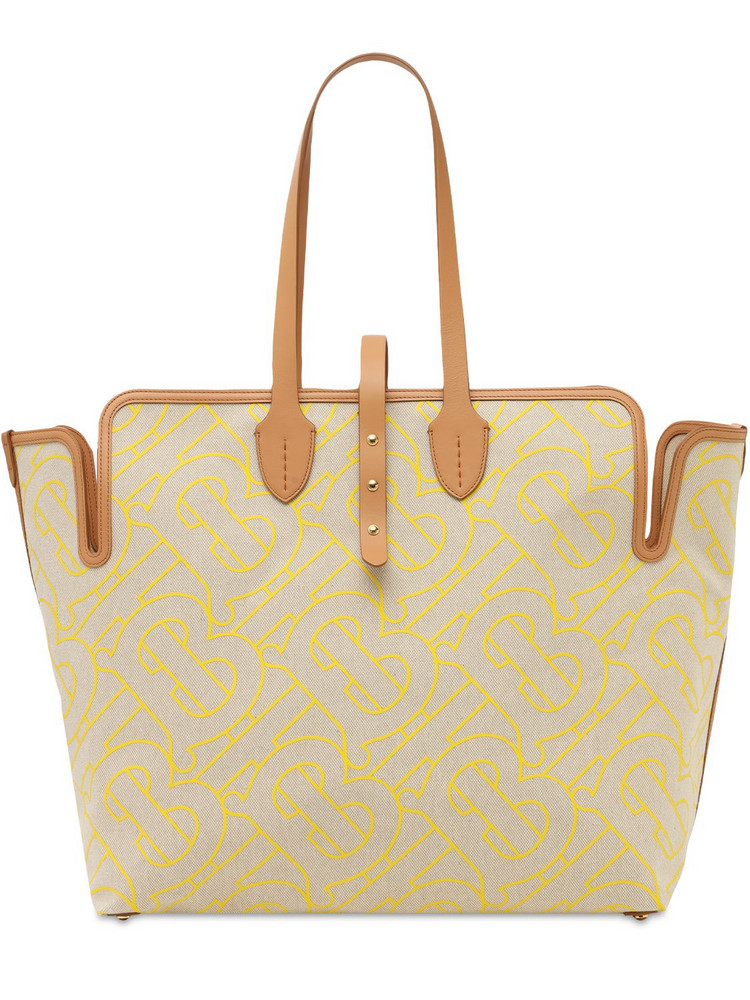 BURBERRY Xl Monogram Print Canvas Tote Bag in natural / yellow