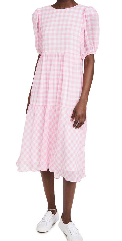 ENGLISH FACTORY Gingham Print Midi Dress in pink