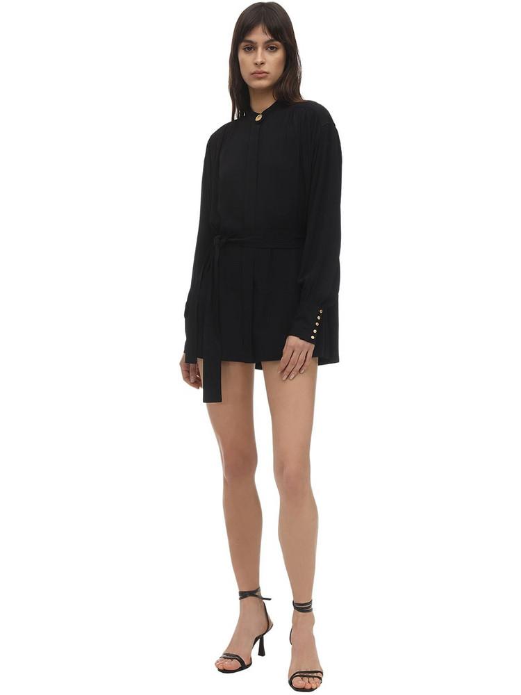PROENZA SCHOULER Belted Crepe De Chine Mini Dress in black