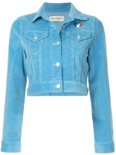 Être Cécile cropped corduroy jacket in blue