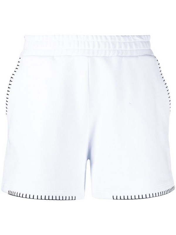 Dondup embroidered trim cotton track shorts in white