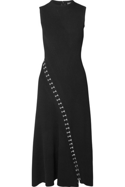 Alexander McQueen - Asymmetric Eyelet-embellished Ribbed Stretch-knit Midi Dress - Black