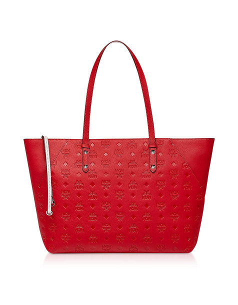 Mcm Klara Monogrammed Leather Charm Top Zip Medium Shopper in red