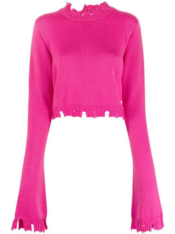 The Attico distressed knitted jumper in pink