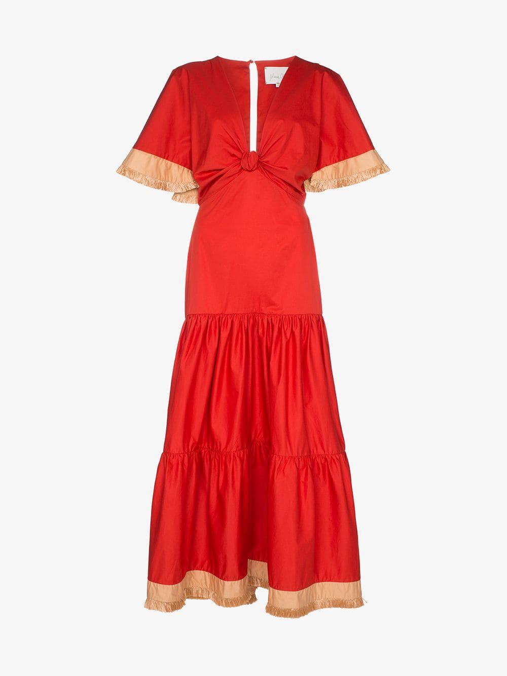 Johanna Ortiz untold stories cotton maxi dress in red