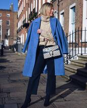 coat,blue coat,navy,heel boots,wide-leg pants,gucci bag,turtleneck sweater,cable knit