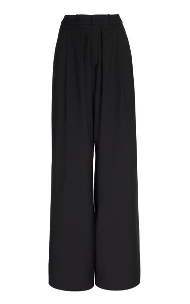 Michael Lo Sordo Pleated Wool Wide-Leg Pants Size: 4 in black