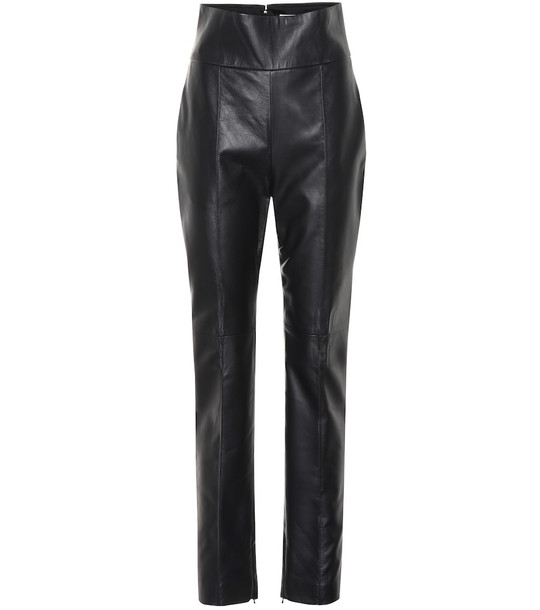 Alexandre Vauthier High-rise straight leather pants in black