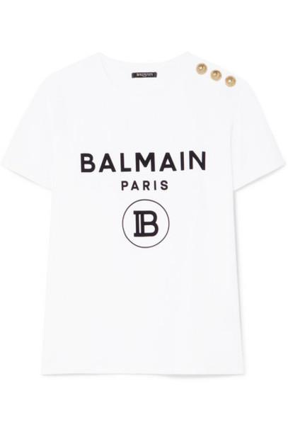 Balmain - Button-embellished Flocked Cotton-jersey T-shirt - White