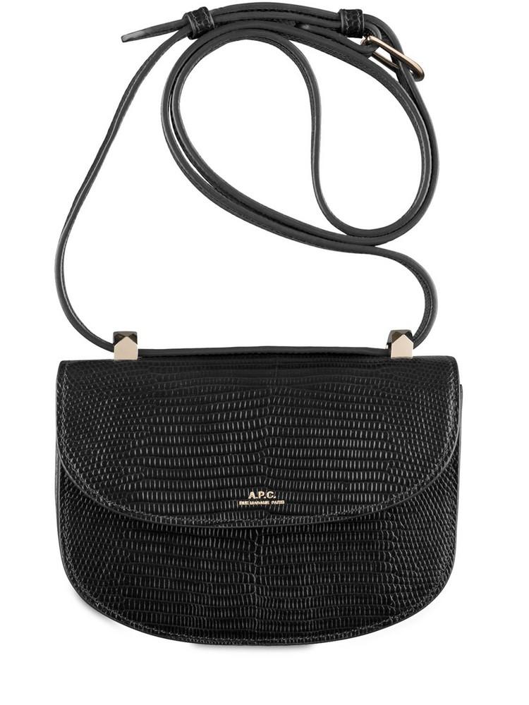 A.P.C. Genéve Croc Embossed Leather Bag in black
