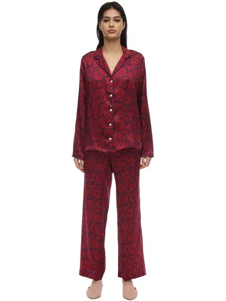 DEREK ROSE Brindisi Long Printed Silk Pajama Set in red