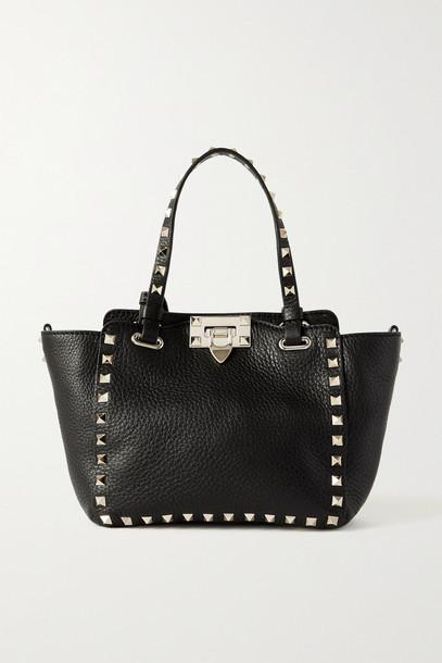 Valentino - Valentino Garavani Rockstud Mini Textured-leather Tote - Black
