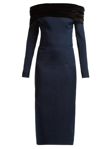 Emilio De La Morena - Tasman Off The Shoulder Silk Blend Midi Dress - Womens - Navy Multi