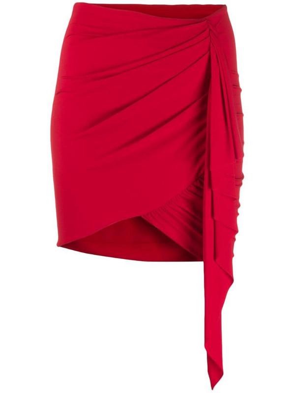 Alexandre Vauthier asymmetric drape skirt in red