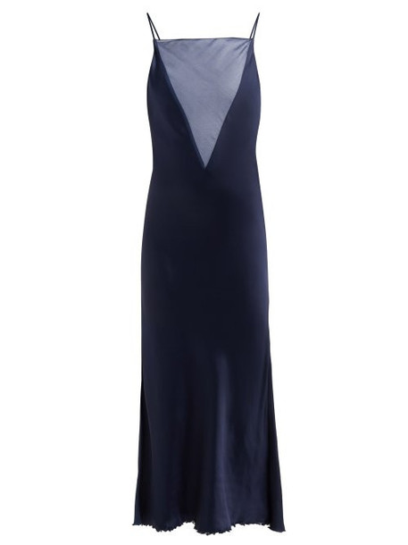 Marina Moscone - Organza Insert Satin Slip Dress - Womens - Navy