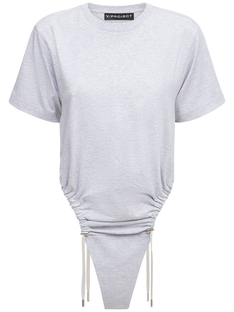 Y PROJECT Ruched Cotton Jersey T-shirt Bodysuit in grey