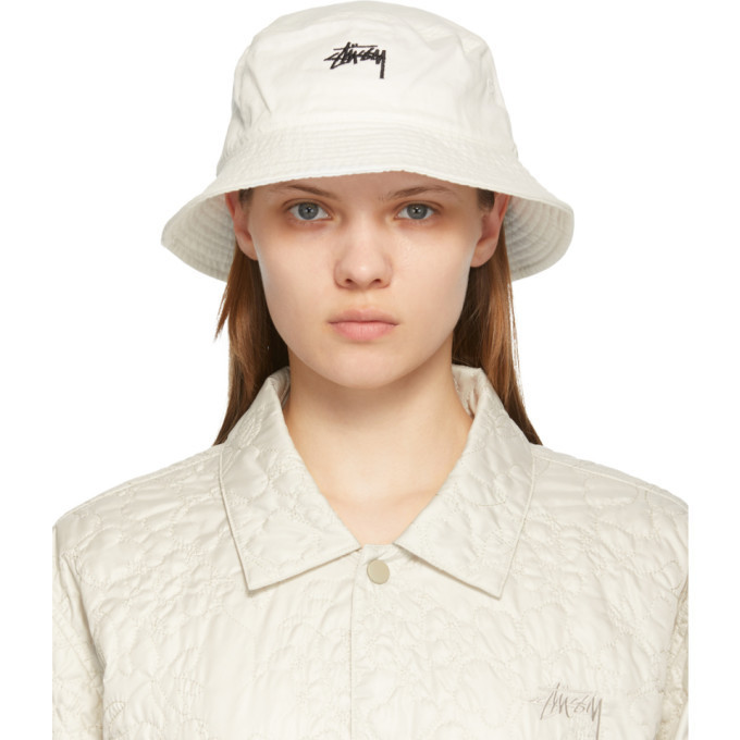 Stussy White Stock Bucket Hat in natural