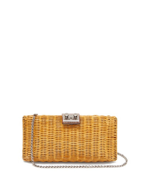Rodo - Leather Trimmed Wicker Clutch Bag - Womens - Brown