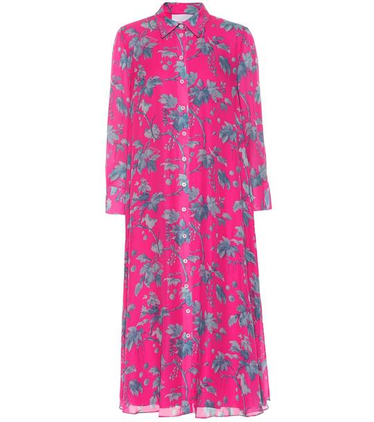 Carolina Herrera Printed silk-chiffon shirt dress in pink