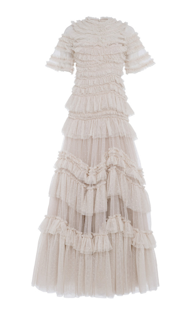 Needle & Thread Wild Rose Ruffled Gown in white