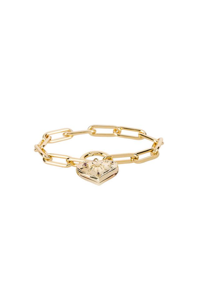Wanderlust + Co Harlow Locket Bracelet in gold / metallic