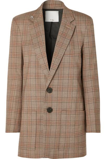 Tibi - James Embellished Checked Woven Blazer - Brown