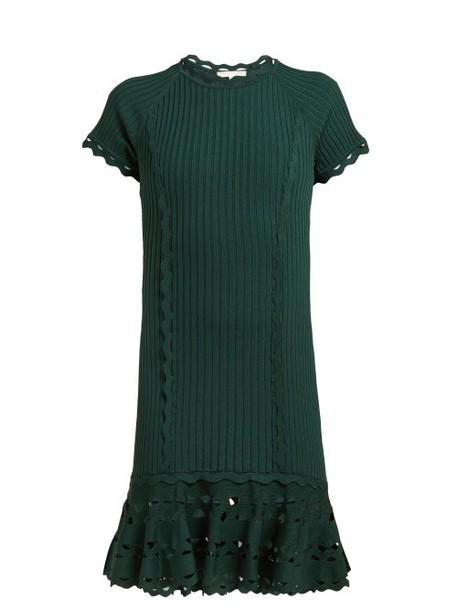 Jonathan Simkhai - Cut Out Hem Stretch Knit Dress - Womens - Dark Green