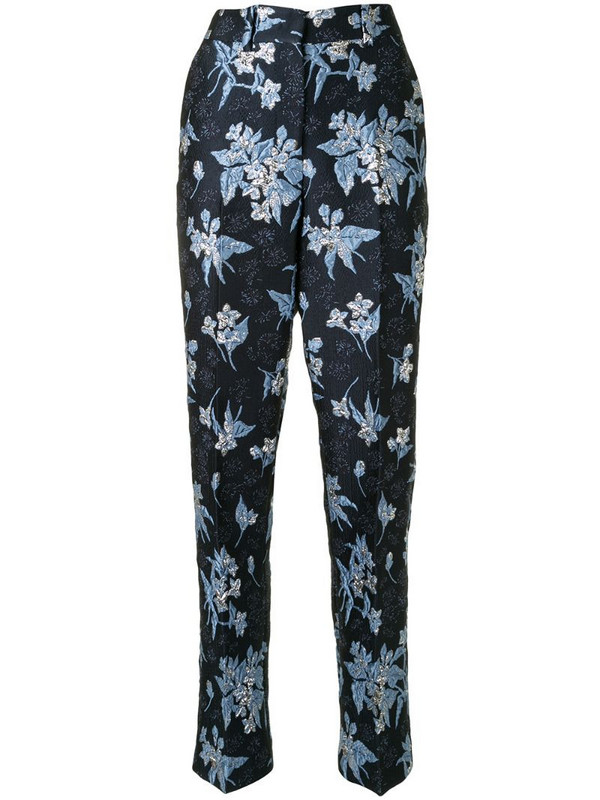 Delpozo floral jacquard straight-leg trousers in blue